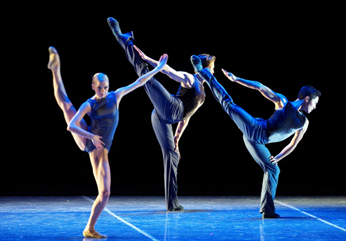 (Boston Ballet's Whitney Jensen, Jeffrey Cirio & Bo Busby in Jorma Elo's 'Plan to B'. Photo: Gene Schiavone