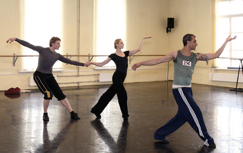 Patrick de Bana,right, in rehearsals for 'Cleopatra', with lya Kuznetsov Mariinsky &  Ilze Liepa